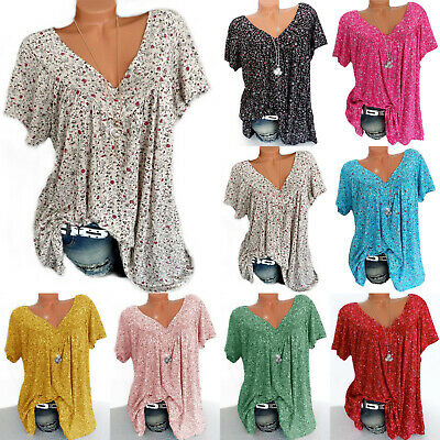 Plus Size Womens V Neck Floral T-shirt Short Sleeve Summer Loose Tee Tops Blouse