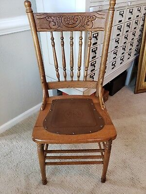 Antique Oak Pressed Back Spindle Chair with Tooled Leather Seat Free shipping!