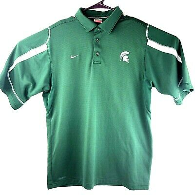 8c273480 Nike Fit Dry Michigan State Spartans Polo Golf Shirt Mens Sz Med MSU Green  Poly