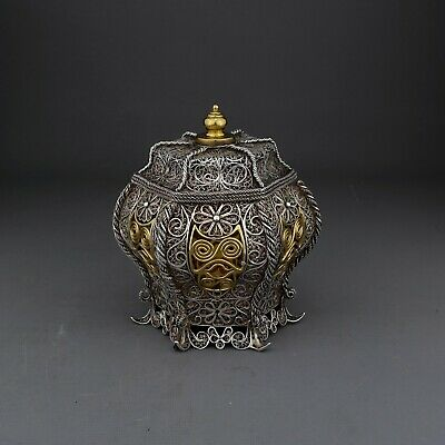 Unusual Antique Chinese Export / Persian Silver Gilt Filigree Tea Caddy / Box