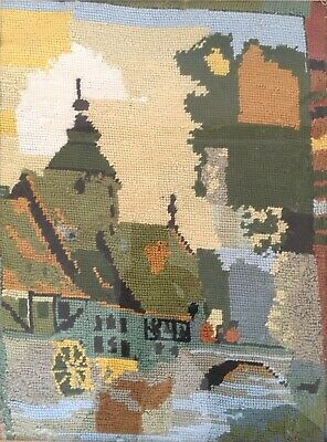 Impressive Church Watermill River Scene TAPESTRY Needlepoint  Framed