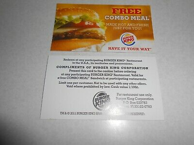 Lot of 5 Burger King Combo Meal Cards