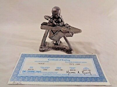 """Pewter Figurine """"ALYCE"""" by Michael Ricker (W/Certificate Of Casting)"""