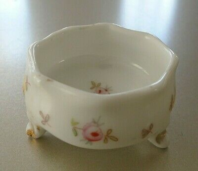Vintage White Floral Footed Scallop Edge Gold Trim Salt Cellar Germany