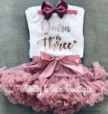 Custom Girls Third 3rd Birthday Outfit Tutu Skirt T-Shirt Party Top Rose Gold
