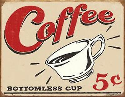 ** SALE Primitive Vintage Look Country Tin COFFEE 5 Cents Humorous Rustic Sign