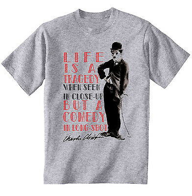 NEW COTTON GREY HOODIE CHARLIE CHAPLIN LIFE QUOTE