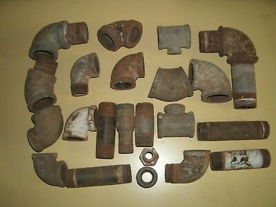 26  Galvanized Pipe &  Misc Fittings  1 & 1 1/2 inch >>> Steampunk/Arts/Crafts