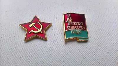 Hammer & Sickle and Soviet Communist  Cap Hat Badge Pin, USSR .Set of two.