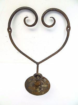 Vintage Used Wrought Iron Metal Heart Shaped Candle Wall Sconce Rustic Holder