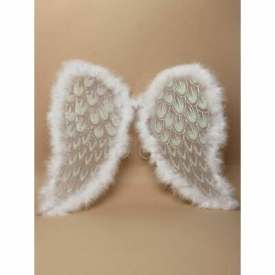 NEW ADULT LARGE ANGLE WINGS WITH SILVER GLITTER CHRISTMAS FANCY DRESS 46x36cm