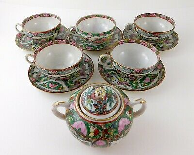 Vintage Famille Rose Medallion Sugar Bowl and 5 Teacup Saucer Sets Chinese Macau