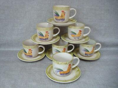 """Scotts Of Stow 7"""" Chicken / Cockerel Cups & Saucers X 7"""