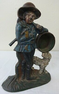 Antique Cast Iron Figural Gent & Dog Clock Stand in Original Paint