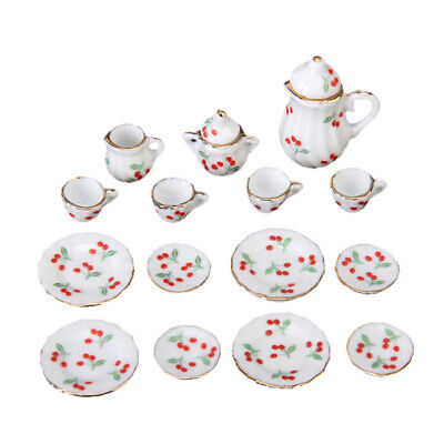 15pcs Dollhouse Miniature Dining Ware Porcelain Tea Set Dish Cup Red Cherry