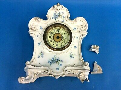 Antique Old Broken Porcelain 3811 31 UNGHANS Movement Beveled Glass Clock Parts