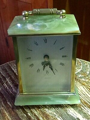 Beautiful Vintage Green Onyx & Brass Carriage Mantel Clock By Dominion