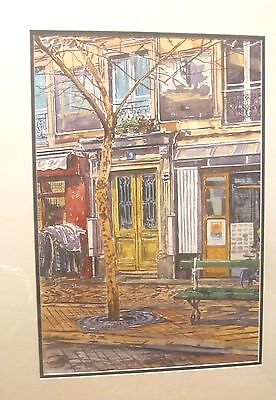 original N. Kaihieu watercolor stylized cityscape architectural painting framed
