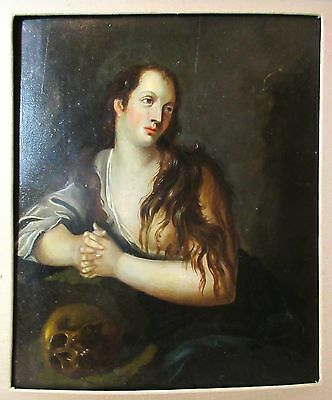 antique 18th century Saint Mary Magdalene skull religious oil painting on panel