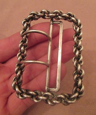 large 1800s antique ornate handmade thick sterling silver chain link belt buckle