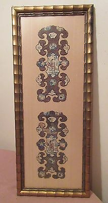 antique 1800's ornate Qing dynasty floral needlepoint embroidery tapestry art .