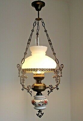 Vintage French Ceiling Lantern Floral Finial Ornate Frame & Glass Shade 1197
