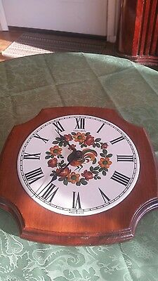VINTAGE Verichron Quartz Wall Clock Wood & Ceramic -Rooster-Working 70's USA
