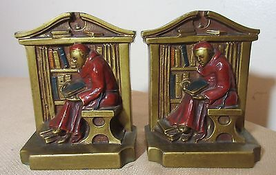 pair of 1922 antique bronzed metal monk reading book library bookends