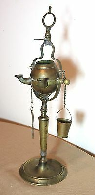 very rare antique 18th century detailed brass pivoting whale oil burning lamp
