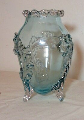 vintage hand blown baby blue footed art glass Italian Murano Venetian vase Italy