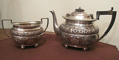 antique ornate s.p.c. silver plate over copper wood sugar creamer tea pot set