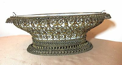 antique early 1800's wrought iron tole ware jardiniere centerpiece bowl planter