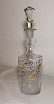 antique hand blown 18th century painted enameled glass liquor decanter bottle