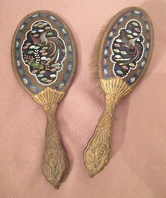 antique Chinese ornate cloisonné gilt bronze vanity hand mirror comb brush set