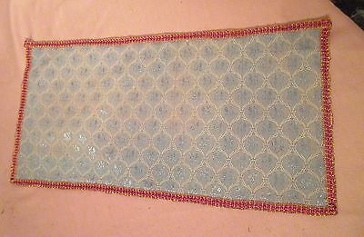 antique ornate embroidered centerpiece table mat runner blue red needlepoint