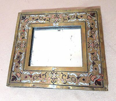 antique ornate 1800's French boulle inlaid sterling brass marquetry mirror frame