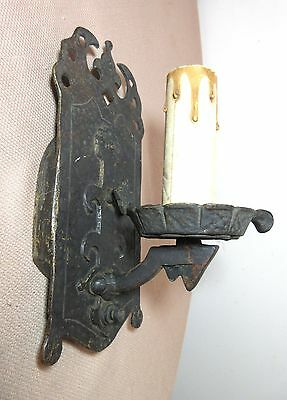 antique ornate Arts & Crafts pat. bronze Halcolite electric wall sconce fixture