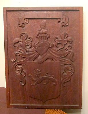 big vintage hand carved A FIN wood coat of arms mahogany plaque panel sculpture