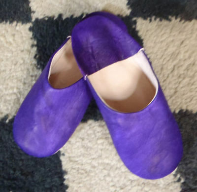 Very Soft 100% Leather Slippers / Mules * Purple