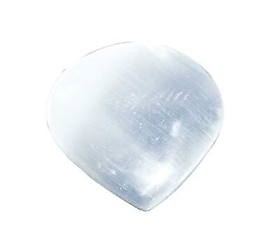 Reiki Crystal Healing Selenite Palm Stone Heart Shape Pocket Gemstone 2-2.5 inch