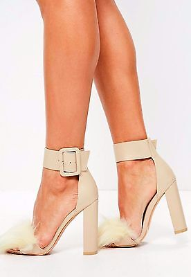 e6a369a32df Missguided Beige Fur Vamp Big Buckle Block Heel Ladies Sandals~Rare Sealed  Box!