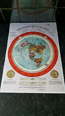 10x A3 PRINTS OF GLEASONS 1892 NEW STANDARD MAP OF THE WORLD / FLAT EARTH MAP