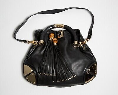 30c51b70c59c GUCCI Indy Tassel Hobo Bag Handbag Purse Black Leather Medium Authentic
