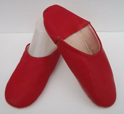 VERY SOFT LEATHER SLIPPERS / MULES * RED * size 8/42 From Morocco