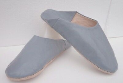 Very Soft 100% Leather Slippers / Mules * Grey * All Sizes