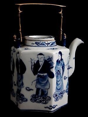 Théière Chine porcelaine personnages Chinese teapot marked XX