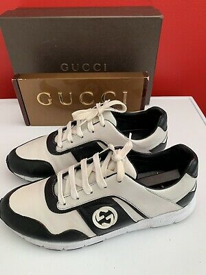 5cf7f3ce85a Genuine Ladies Miro Soft Leather Black And White Gucci Trainers sneakers Uk  6.5