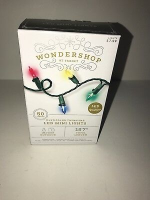 WONDERSHOP AT TARGET 50 LED Twinkling Mini Lights MULTICOLOR In/Outdoor NEW XMAS