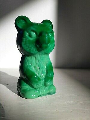 Bohemian Art Deco Vintage Czechoslovakian Malachite Glass Bear