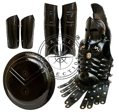 King Leonidas Medieval 300 Spartan Helmet Shield, Arm & Leg Guard Muscle Armour